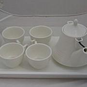 Набор ХК чайный 5 предметов: 4 чашки+заварник на подставке, белый, YS-0033 /12/ (шт.) фото