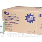 H3 - Tork листовые полотенца Singlefold сложения ZZ зеленые - 15 пач/уп, 250 л/пач, 2 слоя фото