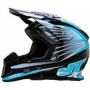 JT Racing Шлем кроссовый ALS1.0 черно-голубой фото