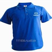 Рубашка поло Mazda синяя вышивка белая фото