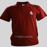 Рубашка поло Ferrari бордовая вышивка белый фото