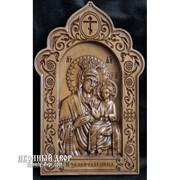 Икона Богородицы Избавительница - Красивая Икона Из Дерева С Резьбой Код товара: ОДВ-9 фото