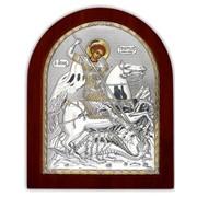 Икона Святой Георгий серебряная Silver Axion 260 х 310 мм с позолотой на деревянной основе фото