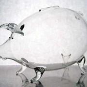 Изготовление стеклянной свиньи копилки фото