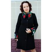 "Вязаное пальто ""Полянка"" фото"
