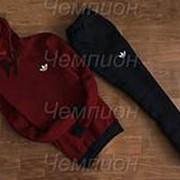 Мужской спортивный костюм Adidas (бордовый с кенгуру) фото