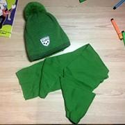 Детский комплект - утепленная шапка с бубоном и шарф , в расцветках фото