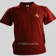 Рубашка поло Ferrari бордовая вышивка золото фото