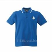 Рубашка поло Ferrari синяя с полоской фото