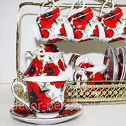 Набор чайный 15 предметов стойка золото 2923 фото