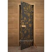 Дверь для сауны АКМА Арт-серия GlassJet ЖЕЛТЫЙ УЗОР 7х19 (коробка липа) фото