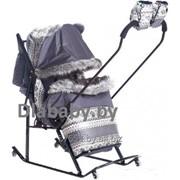 Санки-коляска Kristy Luxe Premium Soft Скандинавский рисунок фото
