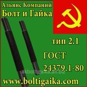 Болт фундаментный с анкерной плитой (шпилька 3.) тип 2.1 3сп2 м48х710 ГОСТ 24379.1-80. фото