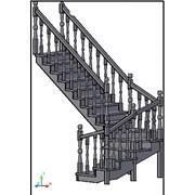 Лестница с забежными ступенями и поворотом на 180* СТ-2700З-2 фото
