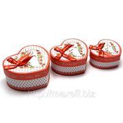 Подарочные коробки в виде сердца (комплект из 3-х штук) фото