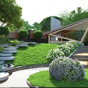Ландшафтный дизайн, полный комплекс работ по озеленению и благоустройству фото