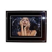 Деревянная рамка 10х15 фотоальт модель cs 101-03 черная с серебряными полосками фото