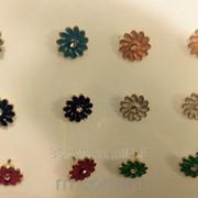 Цветные серьги пуссеты - гвоздики .1023 фото