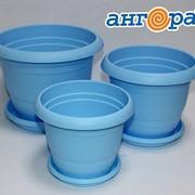 Кашпо ТОПРАК 3л с поддоном голубое *40 (Ангора) фото