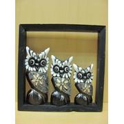 Три Совы в рамке - ажурный узор, арт. 981143/2 фото