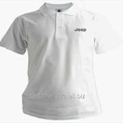 Рубашка поло Jeep белая вышивка серебро