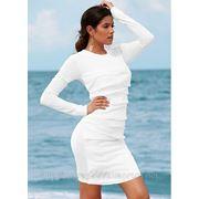 Белое трикотажное платье размер 36/38 (наш 44-46)
