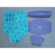 Набор для стемпинга - художественной росписи ногтей 5 дисков + скребок, скарпер и подставка фото