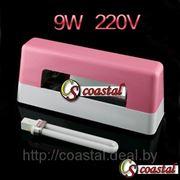 Лампа для наращивания ногтей 9 W 220 V розовая с лампочкой 9W для УФ аппарата. фото