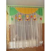 Пошив ламбрекена с подвесками и гардины в детской комнате. фото