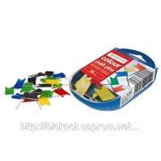 Кнопки флажки, 100 шт в пластиковой коробочке фото