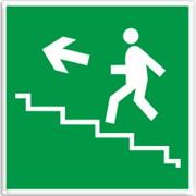 Эвакуационный знак, код E 16 Направление к эвакуационному выходу по лестнице вверх фото
