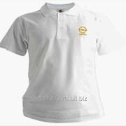 Рубашка поло Opel белая вышивка золото фото
