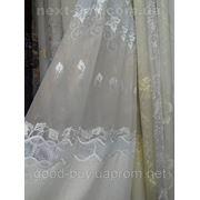 Тюль Клиновый листочек с блеском - льон и органза 100233-ЛА -1 фото