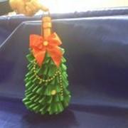 Украшение новогоднего шампанского-мешок-елочка фото