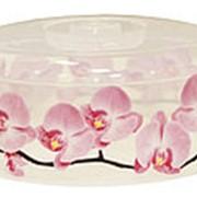 Крышка для разогрева пищевых продуктов в СВЧ-печи ДЕКО D 245мм орхидея 248x107x248 24шт./уп. фото