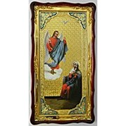 Икона большая Храмовая с багетом Благовещение, в фигурном киоте 61х112