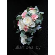 Свадебный букет Серебристо-розовая нежность фото