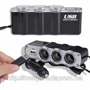 Тройник сплиттер в прикуриватель авто адаптер USB, купить фото