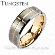 Вольфрамовое кольцо с рифленой поверхностью фото