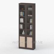 Шкаф книжный, Васко СОЛО 037 Корпус венге, фасад венге/дуб молочный/стекло фото