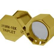 Лупа золотистая 10х, 21 мм (шестигр.), арт 175С фото
