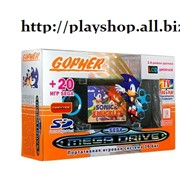 """Игровая приставка SEGA Genesis GopherWireless LCD2.8"""" ИК - порт + 20игр(синяя) фото"""