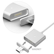 Data cable Intellegent Magnetic Micro-USB Aluminum Silver фото