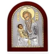 Серебряная Икона Silver Axion Греция с позолотой Святой Стилиан на деревянной основе 200 х 250 мм фото