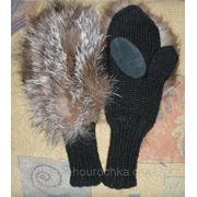Женские рукавички с мехом чернобурки фото