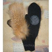 Варежки из меха лисы на трикотажной основе фото