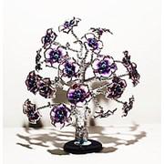 Статуэтка Дерево от сглаза оберег 26*30 см серебристый ствол фиолетовые цветы фото