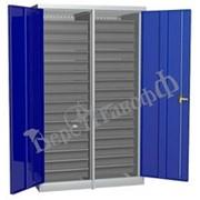 Металлический инструментальный шкаф PROFFI с перегородкой, 32 ящика. фото