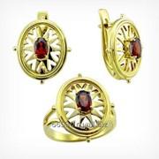 Кольцо и серьги с гранатом. Золото 585. арт. 2115 фото