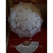 Свадебный зонтик и веер кремовый фото